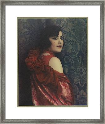 Portrait Of A Woman In A Red Dress, Jacob Merkelbach, 1920 - 1930 Framed Print by Celestial Images
