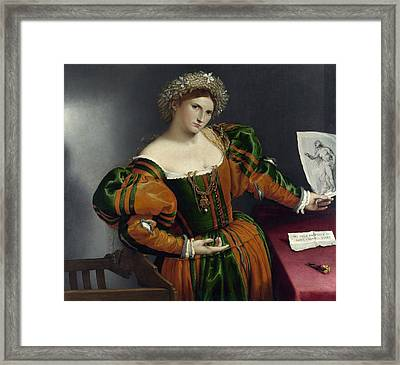 Portrait Of A Woman Inspired By Lucretia Framed Print by Lorenzo Lotto