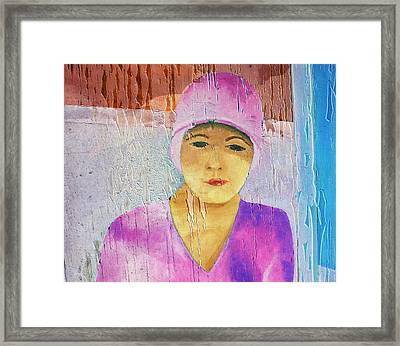 Portrait Of A Woman On A Downtown Wall Framed Print