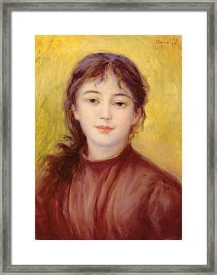 Portrait Of A Woman Framed Print by Pierre Auguste Renoir