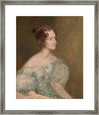 Portrait Of A Woman, Probably Mrs. Price Of Rugby Framed Print by John Linnell