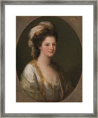 Portrait Of A Woman, Traditionally Identified As Lady Hervey Framed Print by Angelica Kauffman
