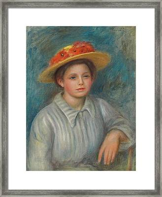 Portrait Of A Woman With A Hat With Flowers Framed Print by Pierre Auguste Renoir