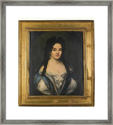 Portrait Of A Woman With Long Black Framed Print