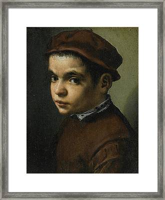 Portrait Of A Young Boy Bust Length Facing Left Dressed In A Maroon Doublet And Cap Framed Print by Michele Tosini