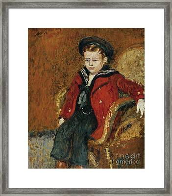 Portrait Of A Young Boy Framed Print by Celestial Images