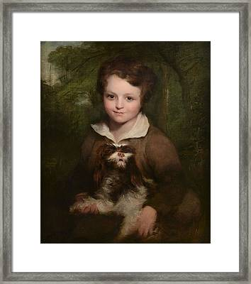 Portrait Of A Young Boy Holding A Dog Framed Print by Richard Rothwell