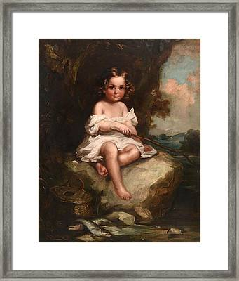 Portrait Of A Young Boy Sitting On A Rock Fishing Framed Print by Richard Buckner