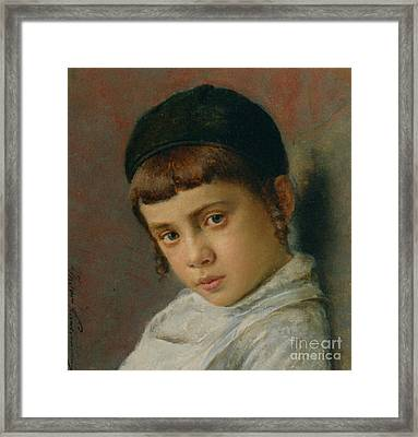 Portrait Of A Young Boy With Peyot  Framed Print by MotionAge Designs