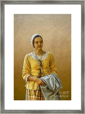 Portrait Of A Young Colonial Woman Framed Print by Randy Steele