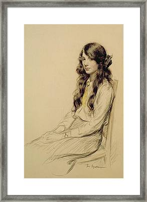 Portrait Of A Young Girl Framed Print by Frederick Pegram