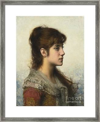 Portrait Of A Young Girl In Profile Framed Print by Celestial Images