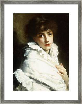 Portrait Of A Young Girl In White Framed Print by Gustave Jacquet