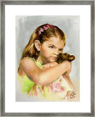 Portrait Of A Young Girl With Toy Bear Framed Print