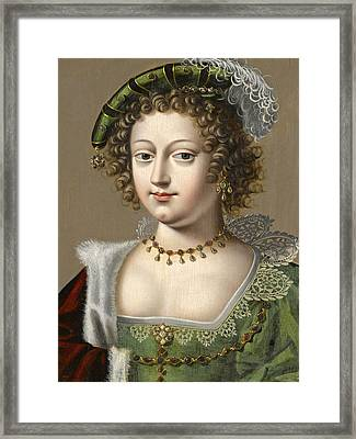 Portrait Of A Young Lady In A Green Dress A Red Fur-trimmed Cape And A Green Hat With A Feather Framed Print by Workshop of Daniel Dumonstier