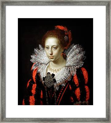 Portrait Of A Young Lady  - Paulus Moreelse  1620 Framed Print