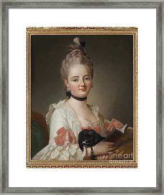 Portrait Of A Young Lady With Dog Framed Print by MotionAge Designs