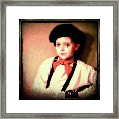Portrait Of A Young Mime Framed Print