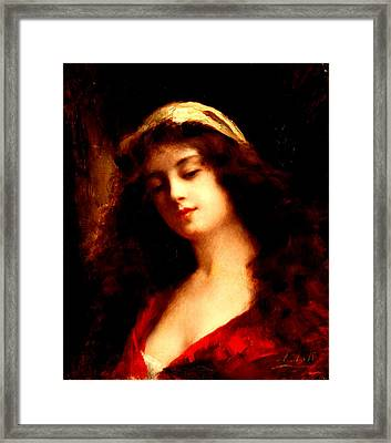 Portrait Of A Young Woman In Red Framed Print