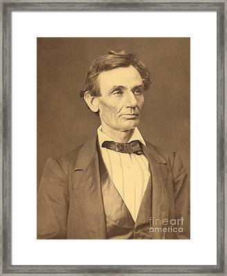 Portrait Of Abraham Lincoln Framed Print by Alexander Hesler