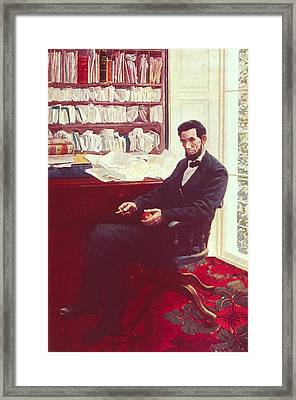 Portrait Of Abraham Lincoln Framed Print by Howard Pyle