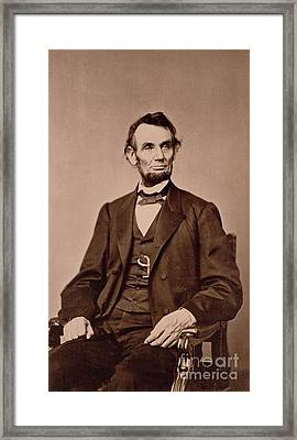 Portrait Of Abraham Lincoln Framed Print by Mathew Brady