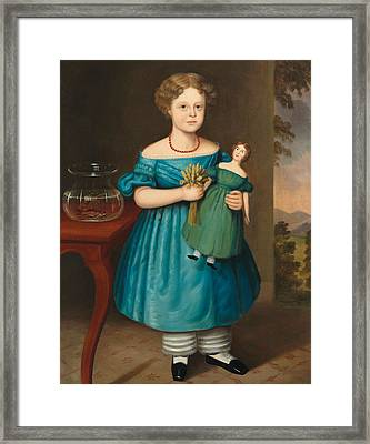 Portrait Of Amy Philpot In A Blue Dress With Doll And Goldfish Framed Print