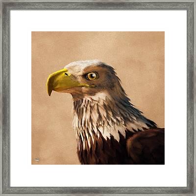 Framed Print featuring the digital art Portrait Of An Eagle by Daniel Eskridge