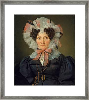 Portrait Of An Elderly Woman Framed Print by Wilhelm Bendz