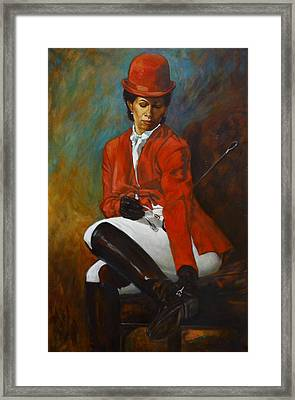 Portrait Of An Equestrian Framed Print by Harvie Brown