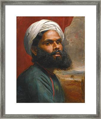 Portrait Of An Indian Sardar Framed Print by Edwin Frederick Holt