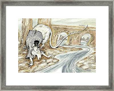 Portrait Of Angry White Rat In Jacket And Top Hat On River Bank - Ancient Stone Bridge In Background Framed Print
