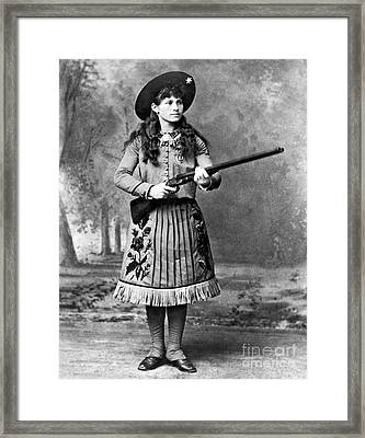 Portrait Of Annie Oakley Framed Print by American School