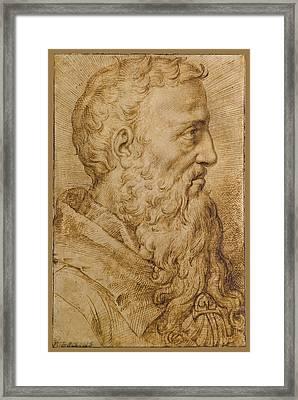 Portrait Of Baccio Bandinelli In Profile To The Right Framed Print
