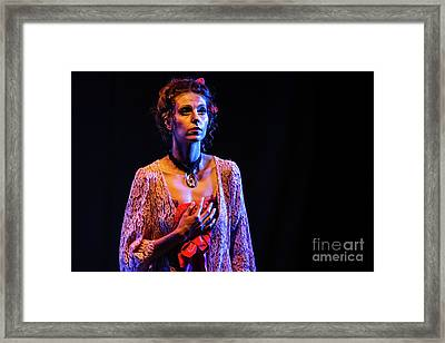 Framed Print featuring the photograph Portrait Of Ballet Dancer In Pose On Stage by Dimitar Hristov