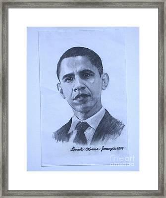 portrait of Barack Obama Framed Print