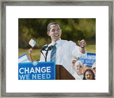 Portrait Of Barack Obama The Change We Need Framed Print by Christopher Oakley