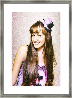 Portrait Of Beautiful Smiling Woman Framed Print