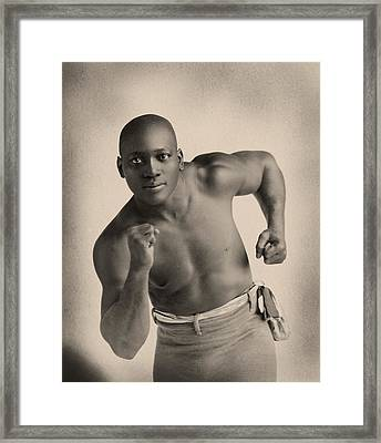 Portrait Of Boxer Jack Johnson Framed Print by American School