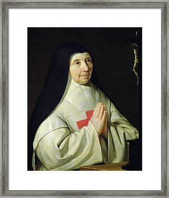 Portrait Of Catherine-agnes Arnauld Framed Print by Philippe de Champaigne