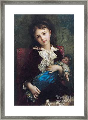 Portrait Of Catherine Du Bouchage Framed Print by Antoine Auguste Ernest Hebert