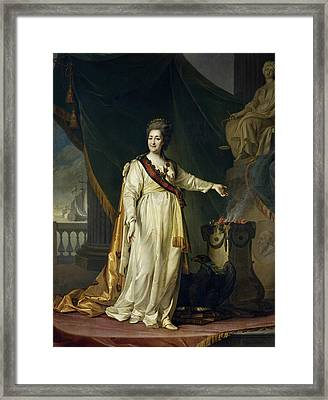 Portrait Of Catherine II The Legislatress In The Temple Of The Goddess Of Justice Framed Print