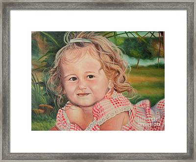Framed Print featuring the painting Portrait Of Child by Sorin Apostolescu