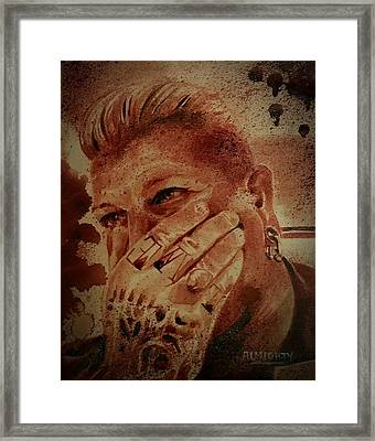 Portrait Of Chris Kross Framed Print by Ryan Almighty