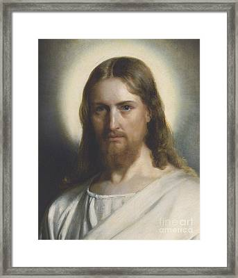 Portrait Of Christ Framed Print by Carl Heinrich Bloch