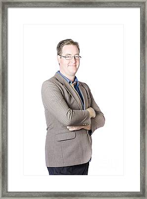 Portrait Of Confident Male Businessman With Smile Framed Print