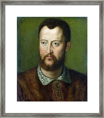 Portrait Of Cosimo I De' Medici Grand Duke Of Tuscany Framed Print by Celestial Images