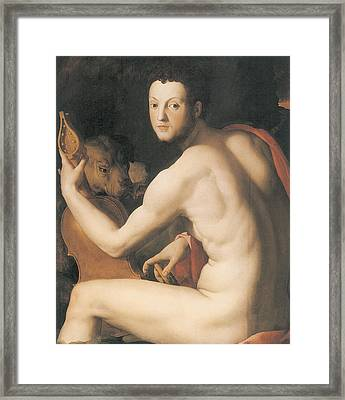 Portrait Of Duke Cosimo I De'medici As Orpheus Framed Print by Agnolo Bronzino