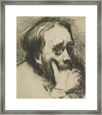 Portrait Of Edgar Degas Framed Print by Marcellin Gilbert Desboutin