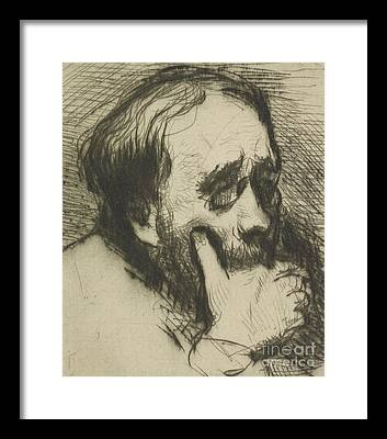 Hand On Chin Drawings Framed Prints